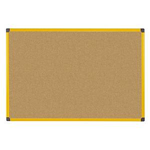 Pannello in sughero Bi-Office Ultrabrite con cornice gialla 120 x 90 cm