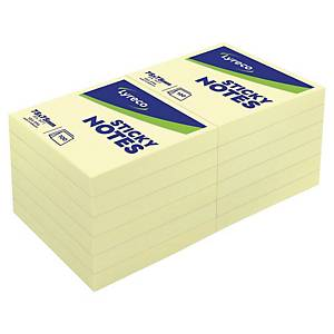 Notes repositionnables Lyreco - 76 x 76 mm - jaunes - bloc x 100 feuilles