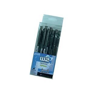 G soft W2 Retractable Ballpoint Ballpoint Pen 0.7mm Black - Pack of 15