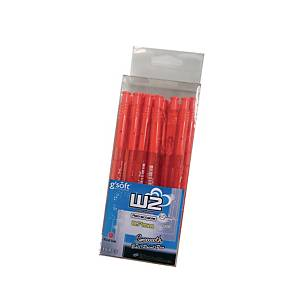 G soft W2 Retractable  Ballpoint Pen 0.7mm Red - Pack of 15