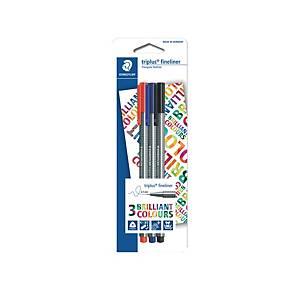 Staedtler 334 Triplus Fineliner Pen Mix Colour - Pack of 3