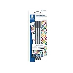 Staedtler 334 Triplus Fineliner Pen Black - Pack of 3
