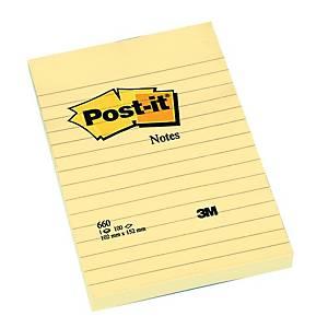 Post-it viestilappu 102x152mm viivoitettu keltainen, 1 pakkaus=6x100 lappua