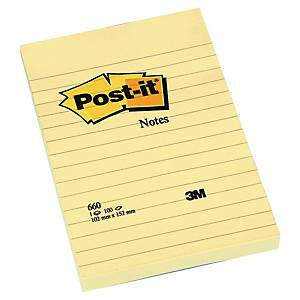 Post-it® Notes 660YEL, kanariegeel, gelijnd, 102 x 152 mm, per stuk