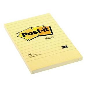 Karteczki samoprzylepne Post-it XXL, Żółte, w linię, 102x152mm, 100 karteczek