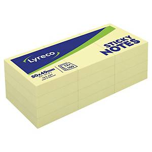 Pack de 12 blocks de 100 notas adhesivas Lyreco - amarillo - 38 x 51 mm