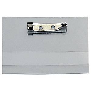 Lyreco biztosítótűs névkitűző, 40 x 60 mm, 25 db/csomag