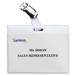 Kongresmærker Lyreco, 6 x 9 cm, med klemme, æske a 30 stk.