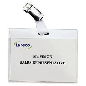 Namensschild Lyreco, 90 x 60mm, mit Clip, 30 Stück