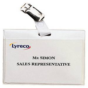 BX30 LYRECO CLIP BADGES 60 X 90MM