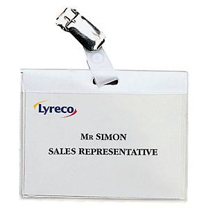 Lyreco badge with metal clip 90x60mm - pack of 30