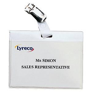 Navneskilt Lyreco, 6 x 9 cm, med klemme, eske à 30 stk.