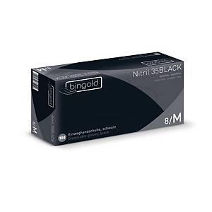 Einweghandschuhe Bingold Nitril 35 BLACK, Nitril puderfrei, Gr. M, swz, 100St