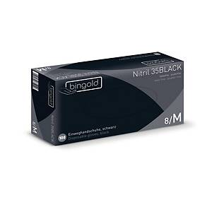 Einweghandschuhe Bingold Nitril 35 BLACK, Nitril puderfrei, Gr. L, swz, 100St