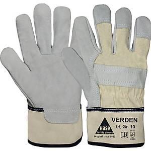 Handschuhe Hase Verden, Leder, Größe 11, grau/beige, 1 Paar