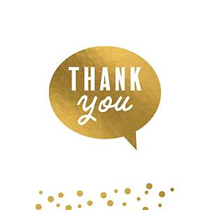 Greeting card thank you in gold - pack of 6