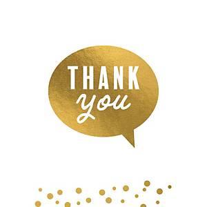 Carte de voeux de remerciement en or, paquet de 6