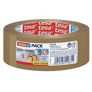 Ruban d'emballage en PVC Tesa ultra strong 57175, PVC, 38 mmx66 m, brun