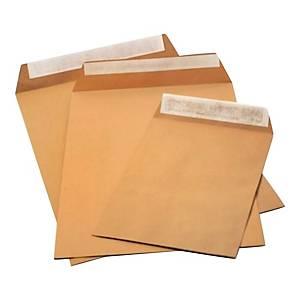 Koperty samoklejące z paskiem B4 RAYAN, brązowe, 250 sztuk