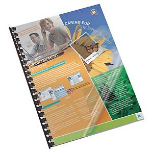 LYRECO PVC TRANSPARENT REPORT BINDING COVERS 200 MICRONS A4 - BOX OF 100