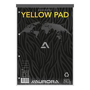 Aurora schrijfblok, A4, gelijnd, geel papier, geniet, 80 vellen, pak van 5