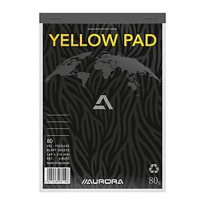Aurora schrijfblok, A5, gelijnd, geel papier, geniet, 80 vellen, pak van 5
