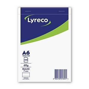 Lyreco schrijfblok, A6, gelijnd, geniet, 100 vellen