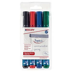 Edding® 380 flipchart marker, ronde punt, assorti kleuren, per 4 markers