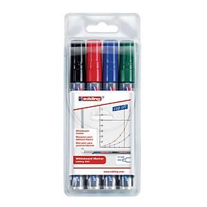 Edding 250 whiteboard marker, ronde punt, assorti kleuren, etui van 4 markers