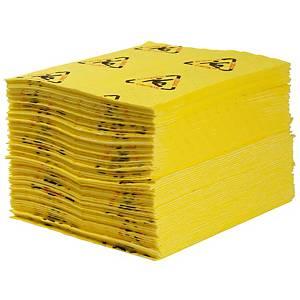 Chiffons absorbants produits chimiques Brady SPC CH100, la boîte de 100 feuilles