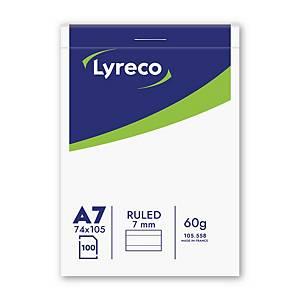 Lyreco schrijfblok, A7, gelijnd, geniet, 100 vellen