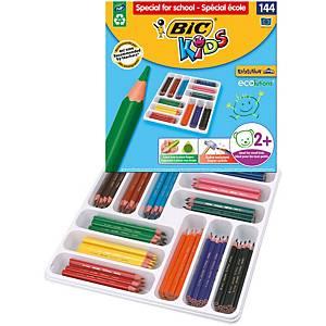 Bic® Kids Evolution driehoekige kleurpotloden klaspak, pak van 144 potloden