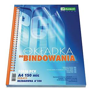 PK100 D.RECT 008423 BIND COVER A4 TRANSP