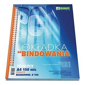 Okładka do bindowania D.RECT 008423, przeźroczysta 150 mik, A4, PVC, 100 sztuk