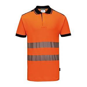 Polo alta visibilità Portwest T180 arancione/nero tg M