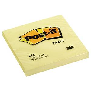 3M Post-it® 654 Samolepicí bločky 76x76  mm, žluté, bal. 1 bloček/100 lístků