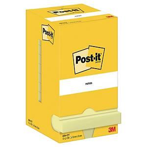 3M Post-it® 654 öntapadó jegyzettömb, 76 x 76 mm, sárga, 1 tömb/100 lap