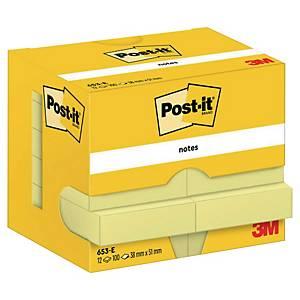 Samolepicí bločky 3M Post-it® 653, 38x51mm, žluté, bal. 12 bločků/100 lístků