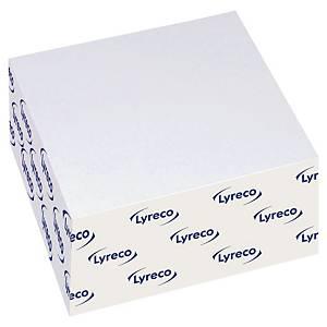 Cubo de 400 notas Lyreco - papel reciclado - blanco - 76x76mm