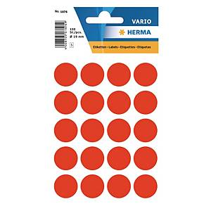 Vielzweck Etiketten HERMA 1876, 19 mm, rund, leuchtrot, Packung à 100 Stück