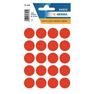 Etiquettes universelles Herma 1876, 19 mm rouge fluo, emballage de 100 pièces