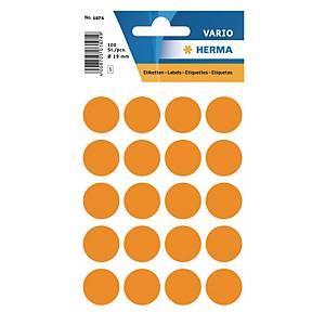 Etiquettes universelles Herma 1874, 19 mm orange fluo, emballage de 100 pièces