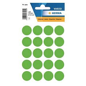 Vielzweck Etiketten HERMA 1878, 19 mm, rund, leuchtgrün, Packung à 100 Stück