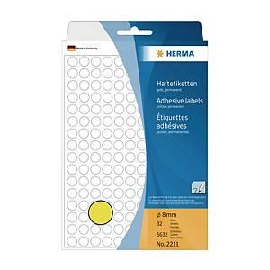 Herma 2211 Round Label 8mm Yellow - Box of 5632
