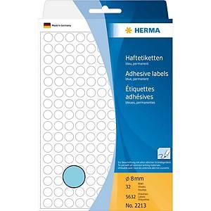 Étiquettes multi-usages Herma 2213, 8 mm, rondes, bleu, paq. 5632unités