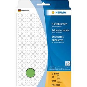 Étiquettes multi-usages HERMA 2215, 8 mm, rondes, vert, paq. 5632unités