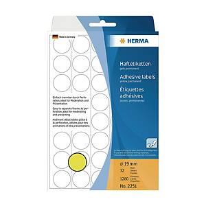 Herma 2251 Round Label 19mm Yellow - Box of 1280
