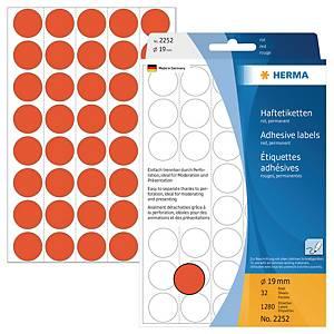 Markierungspunkte Herma 2252, Ø 19mm, rot, 1280 Stück