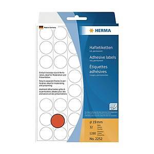 HERMA 顏色標籤圓形 2252 19毫米 紅色 每盒1280個標籤