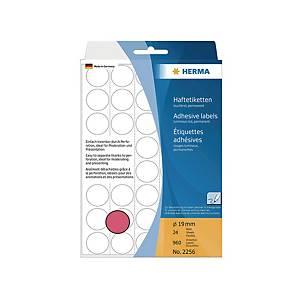 HERMA 顏色標籤圓形 2256 19毫米 螢光紅色 每盒960個標籤